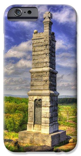 Pennsylvania At Gettysburg - 91st Pa Veteran Volunteer Infantry - Little Round Top Spring IPhone Case by Michael Mazaika