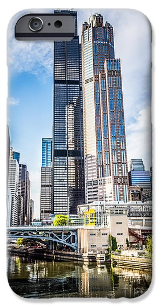 Picture Of Chicago Buildings With Willis-sears Tower IPhone Case by Paul Velgos