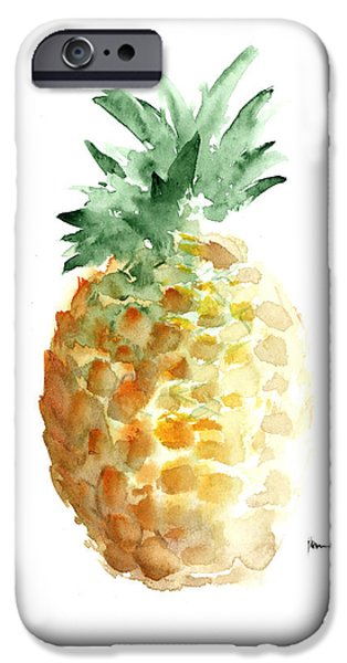 Pineapple Art Print Watercolor Painting IPhone 6s Case by Joanna Szmerdt