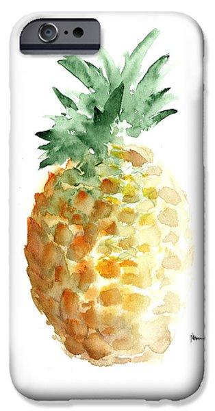 Pineapple Art Print Watercolor Painting IPhone Case by Joanna Szmerdt