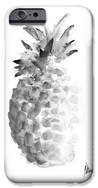 Pineapple Painting Watercolor Art Print IPhone Case by Joanna Szmerdt