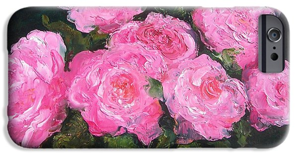 Pink Roses In A Brass Vase IPhone Case by Jan Matson