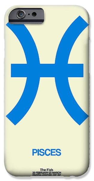 Pisces Zodiac Sign Blue IPhone Case by Naxart Studio