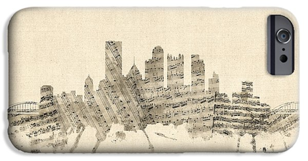 Pittsburgh Pennsylvania Skyline Sheet Music Cityscape IPhone Case by Michael Tompsett