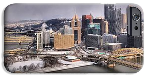 Pittsburgh Snowy Panorama IPhone Case by Adam Jewell