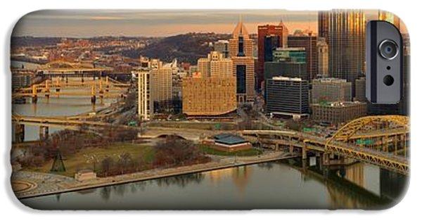 Pittsburgh Winter Sunset Panorama IPhone Case by Adam Jewell