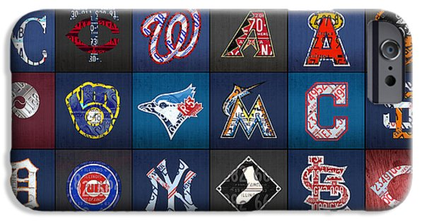 Play Ball Recycled Vintage Baseball Team Logo License Plate Art IPhone Case by Design Turnpike