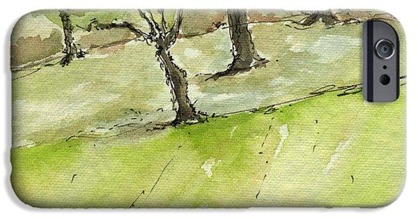 Plein Air Sketchbook. Arroyo Verde Park Ventura June 23. 2012 Trees On A Hill Bending IPhone Case by Cathy Peterson