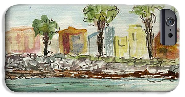 Plein Air Sketchbook. Oxnard California 2011. Entrance To The Harbor From The North Jetty IPhone Case by Cathy Peterson