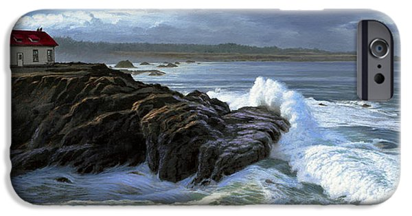 Point Cabrillo Lighthouse With Surf IPhone Case by Paul Krapf
