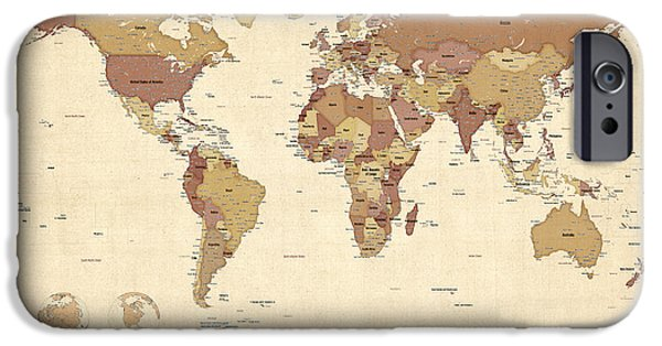 Political Map Of The World Map IPhone Case by Michael Tompsett