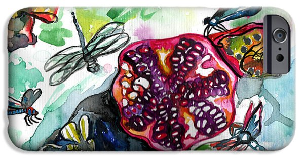 Pomegranate And Dragonflies IPhone Case by Genevieve Esson
