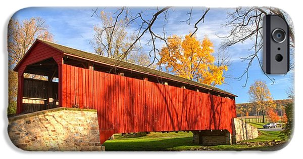 Poole Forge Covered Bridge - Lancaster County IPhone Case by Adam Jewell