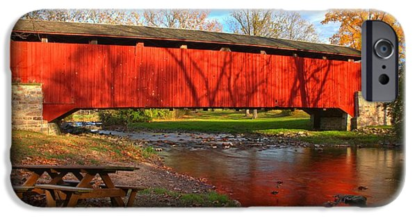 Poole Forge Covered Bridge Reflections In The Conestoga IPhone Case by Adam Jewell