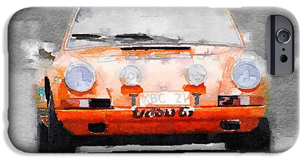 Porsche 911 Race Track Watercolor IPhone Case by Naxart Studio