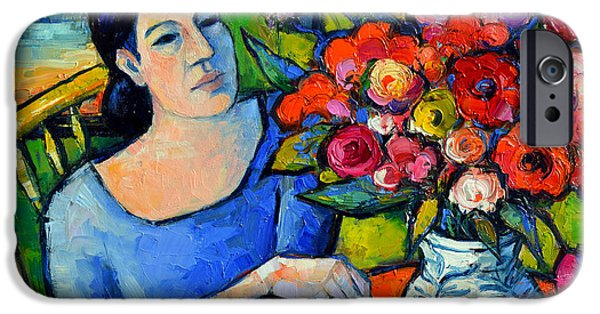 Portrait Of Woman With Flowers IPhone Case by Mona Edulesco