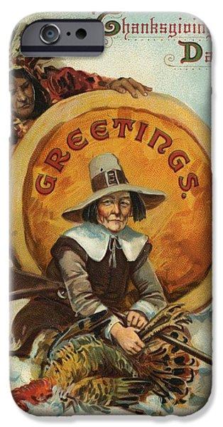 Postcard Of Pilgrim Plucking A Turkey IPhone Case by American School