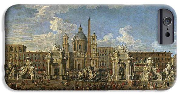 Preparation For The Firework Display Held At Piazza Navona, Rome, To Celebrate The Birth IPhone Case by Giovanni Paolo Pannini or Panini