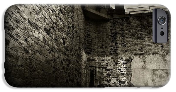 Prison Walls In Black And White IPhone Case by Paul Ward