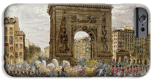 Procession Of Pope Pius Vii 1742-1823 In Paris, 28th November 1804 Coloured Engraving IPhone Case by French School