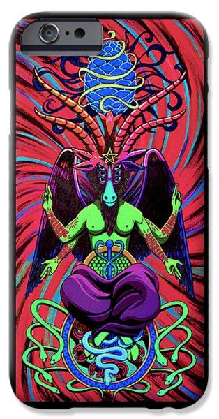 Psychtanic Baphodelic Super Goat On Dmt IPhone Case by Steve Hartwell