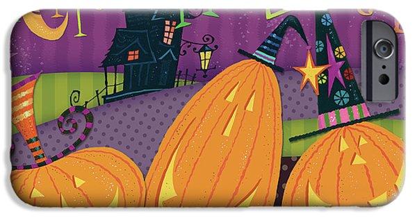 Pumpkins Night Out - Happy Halloween IPhone Case by Pela Studio