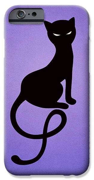 Purple Gracious Evil Black Cat IPhone Case by Boriana Giormova