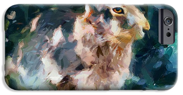 Rabbit On Alert IPhone Case by Yury Malkov