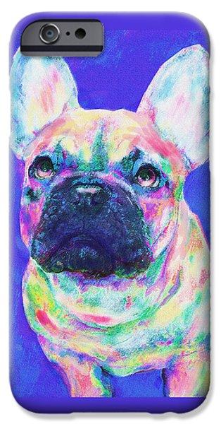 Rainbow French Bulldog IPhone Case by Jane Schnetlage