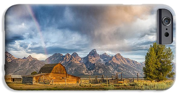 Rainbow On Moulton Barn - Horizontal - Grand Teton National Park IPhone Case by Andres Leon