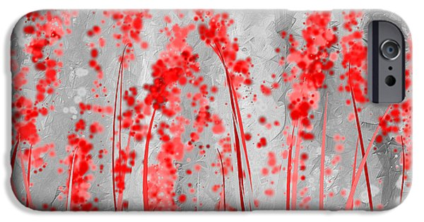 Red And Gray Art IPhone Case by Lourry Legarde