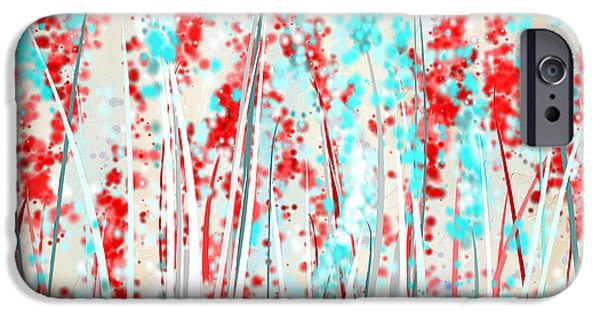 Red And Teal Fields IPhone Case by Lourry Legarde