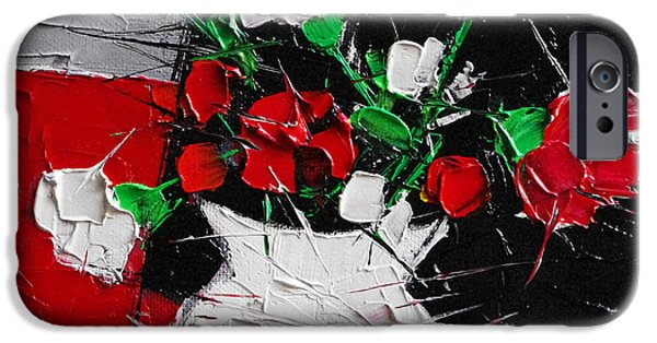 Red And White Carnations IPhone Case by Mona Edulesco