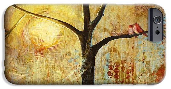 Red Birds Tree Version 2 IPhone Case by Blenda Studio