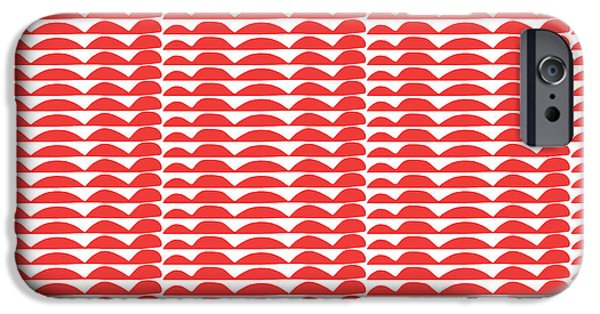 Red Cut Outs- Abstract Pattern Art IPhone Case by Linda Woods