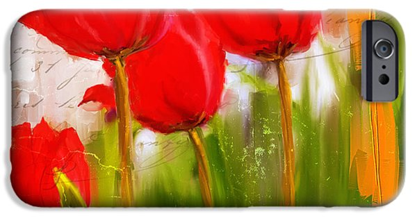 Red Enigma- Red Tulips Paintings IPhone Case by Lourry Legarde