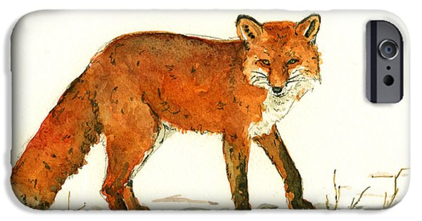 Fox IPhone Case featuring the painting Red Fox In The Snow by Juan  Bosco