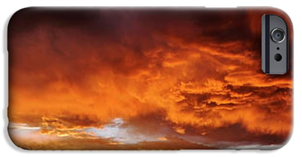 Red Sky Sunset After A Storm In Taos IPhone Case by Panoramic Images