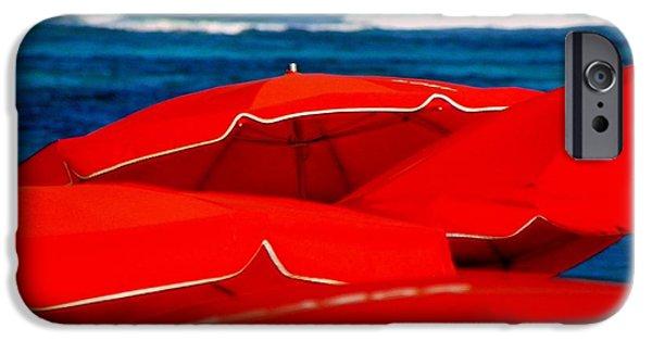 Red Umbrellas  IPhone Case by Karen Wiles