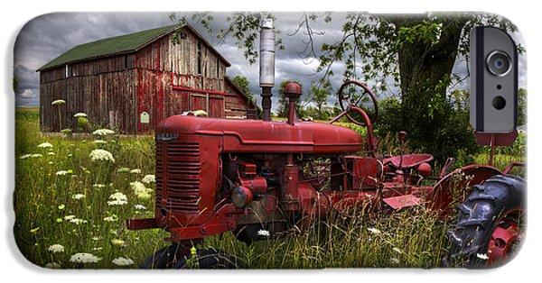Reds In The Pasture IPhone Case by Debra and Dave Vanderlaan
