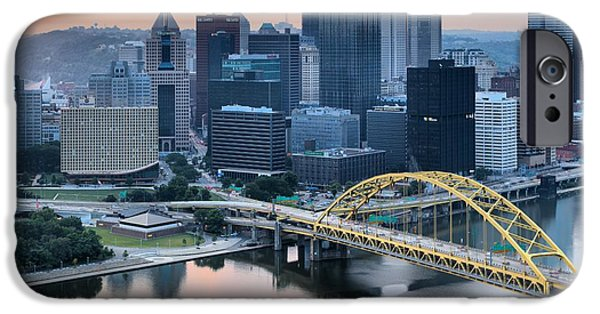 Reflections Of The Pittsburgh Skyine IPhone Case by Adam Jewell