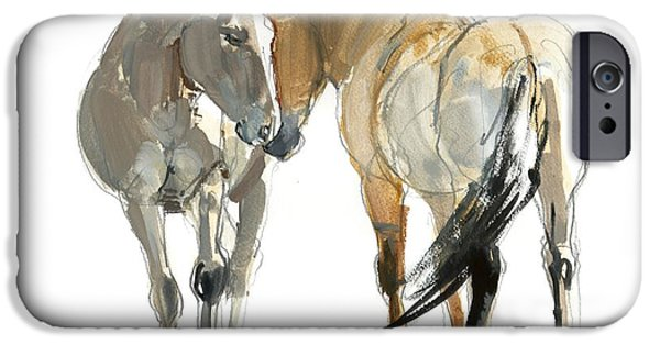 Rencontre Przewalski, 2013, Watercolour And Pigment On Paper IPhone Case by Mark Adlington