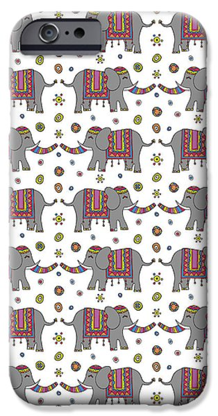 Repeat Print - Indian Elephant IPhone Case by Susan Claire