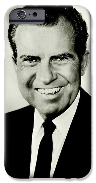 Richard M Nixon IPhone Case by Benjamin Yeager