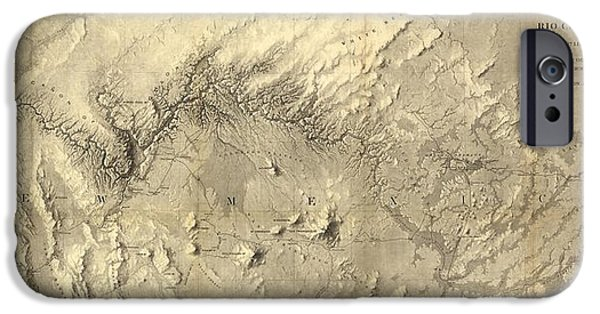 Rio Colorado Of The West Antique Map - 1858 IPhone Case by Eric Glaser