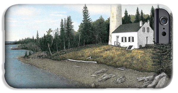 Rock Harbor Lighthouse Titled IPhone Case by Darren Kopecky