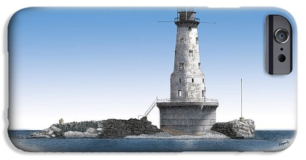 Rock Of Ages Lighthouse Titled IPhone Case by Darren Kopecky
