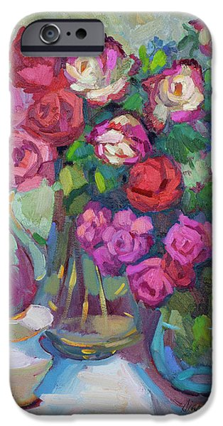 Roses In Two Vases IPhone Case by Diane McClary
