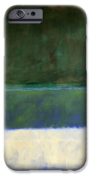 Rothko's No. 14 -- White And Greens In Blue IPhone Case by Cora Wandel