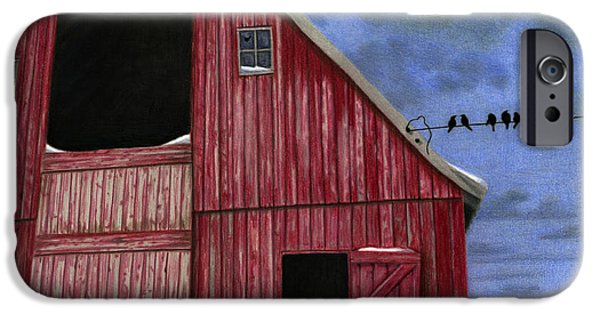 Rustic Red Barn In Winter IPhone Case by Sarah Batalka